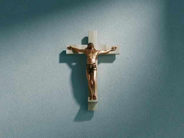 Kruisbeeld op muur in schijnwerpers binnen oude donkere kerk of kathedraal. jezus christus aan het kruis. religie, geloof en hoop. heilige en heilige plaatsen. 3d-rendering illustratie