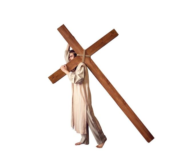 Kruisiging van jezus christus, symbool van gods liefde op wit. christendom religie, de grote martelaar