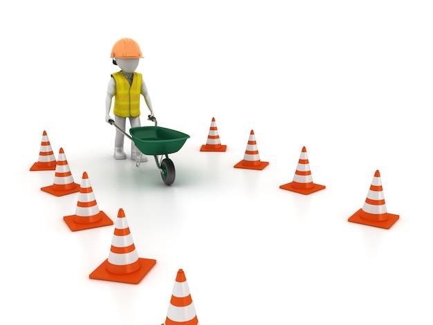 Kruiwagen met cartoon werknemer en verkeerskegels