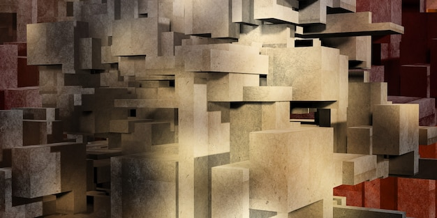 Kubus beton veelkleurige achtergrond architectuur veelhoek geometrie betonnen oppervlak 3d-rendering