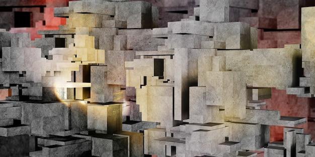 Kubus beton veelkleurige achtergrond architectuur veelhoek geometrie betonnen oppervlak