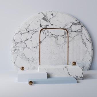 Kubus marmeren podium leeg voetstuk mockup voor product met abstracte achtergrond 3d-rendering
