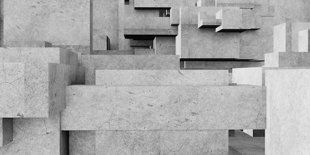 Kubus samenstelling veelhoek abstracte architectonische achtergrond abstracte geometrie van beton 3d-rendering