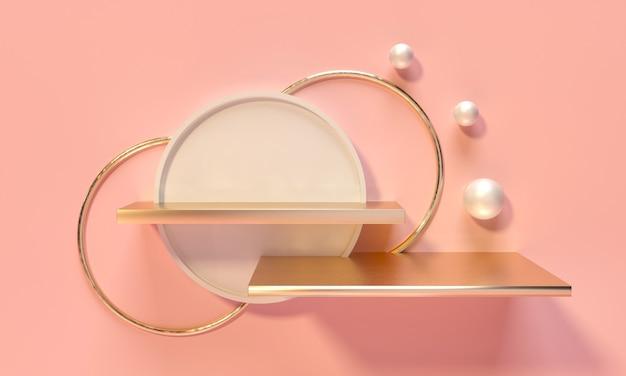 Kubus wit voetstuk, plank en nis op roze achtergrond