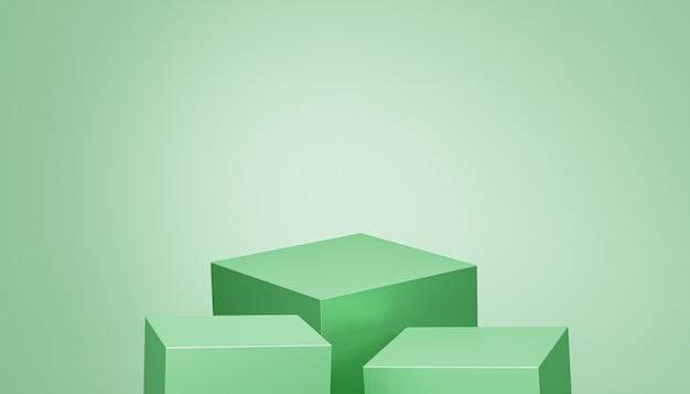 Kubuspodia of sokkels voor producten of reclame op groene achtergrond, 3d render