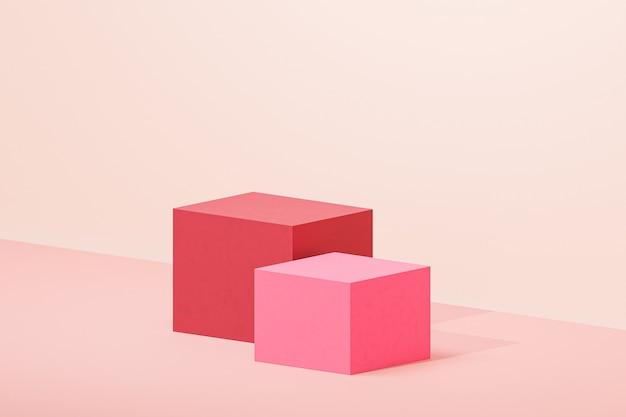 Kubuspodia of sokkels voor producten of reclame op pastelbeige achtergrond, 3d render