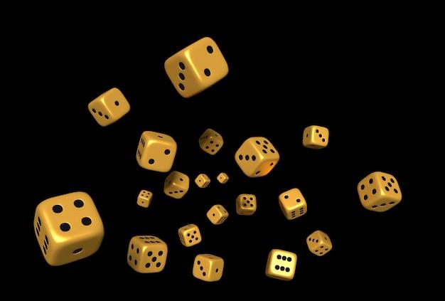 Kubussen dobbelstenen kleur goud 3d-rendering op zwarte achtergrond.
