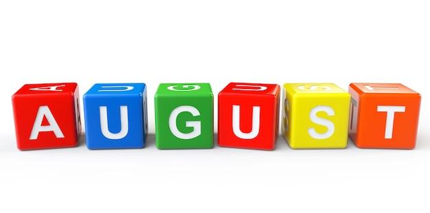 Kubussen met augustus-teken op een witte achtergrond