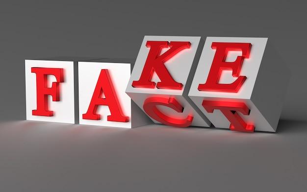 Kubussen met letters draaien om en de woorden veranderen van fact in fake. 3d-weergave