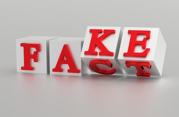 Kubussen met letters draaien om en de woorden veranderen van fact in fake.