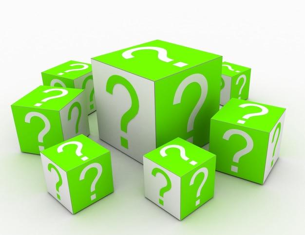 Kubussen met vraagtekens in het ontwerp van informatie met betrekking tot internet. 3d illustratie