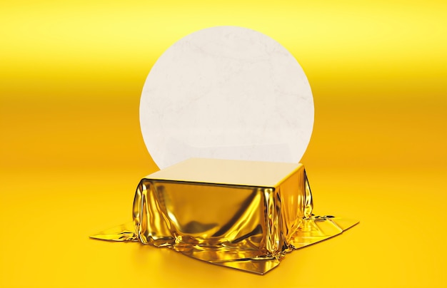 Kubusvormige standaard met gouden stof voor productpresentatie met marmeren omtrek en gouden oppervlak