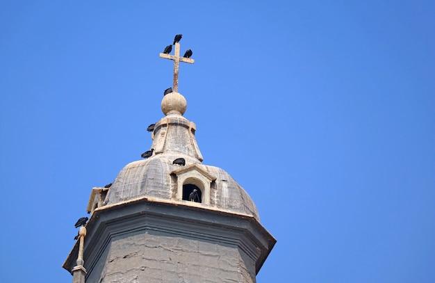 Kudde condors op het kruis van de klokkentoren van de kathedraal van lima, het historische centrum van lima, peru
