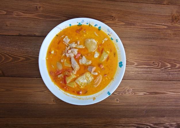Kuku paka kip-kokos curry, is een swahili gerecht uit de kust van oost-afrika.kenyan chicken curry