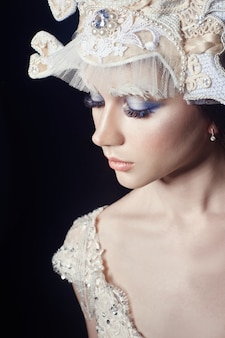 Kunst schoonheid meisje portret, wimpers en make-up. zuivere huid, huidverzorging en wimpers