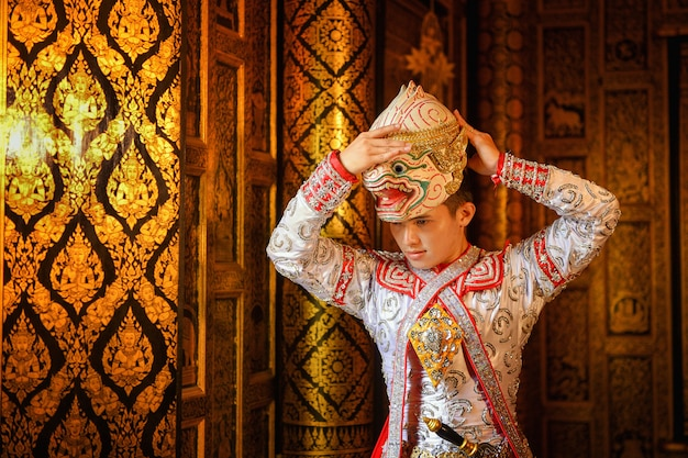 Kunstcultuur thailand dansen in gemaskerde khon hanuman in literatuur amayana, thailand cultuur, khon, thailand traditionele cultuur, thailand