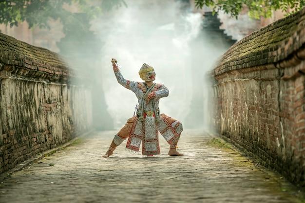 Kunstcultuur thailand dansend in gemaskeerde khon in literatuurramayana, de cultuur van thailand