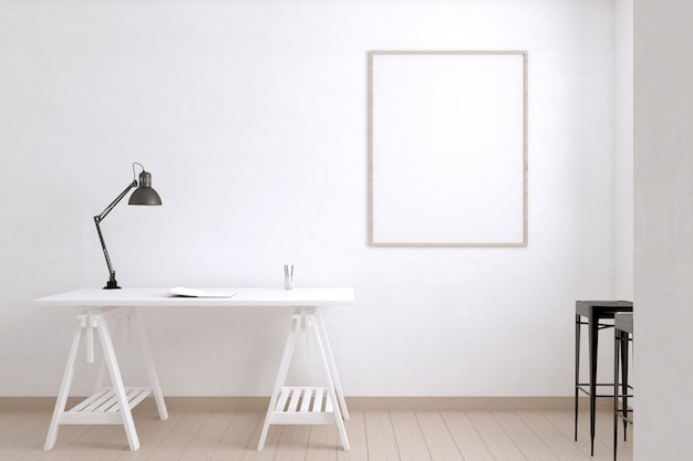 Kunstenaarskamer met bureau en lamp