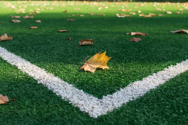 Kunstgras voetbalveld, een hoekmarkeringslijn.