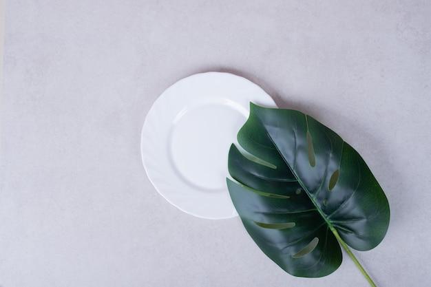 Kunstmatig groen blad en witte plaat op wit oppervlak.