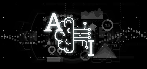 Kunstmatige intelligentie pictogram met half brein en half circuit