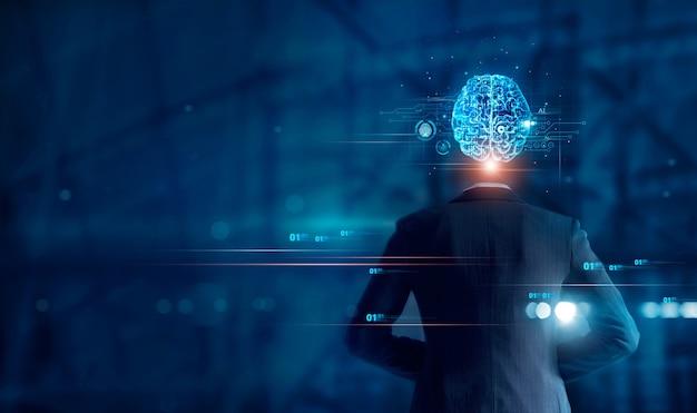 Kunstmatige intelligentie zakenman en hersenen neuraal netwerk van ai met printplaat