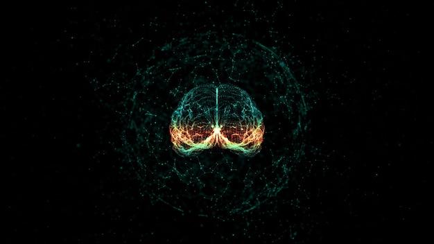 Kunstmatige intelligentieconcept hersenen over een printplaat