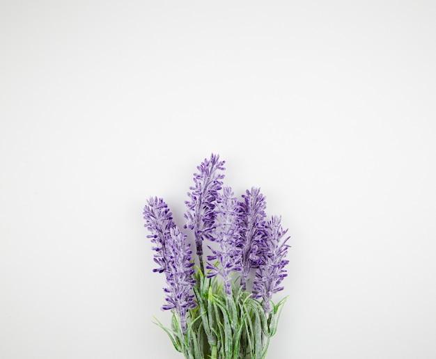 Kunstmatige lavendelbloemen op witte achtergrond