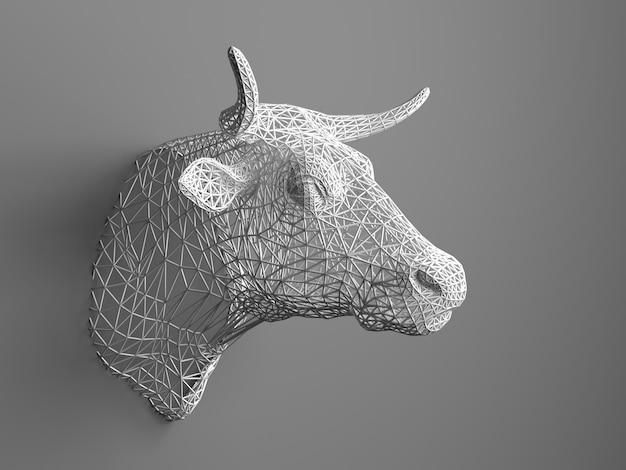 Kunstmatige stierenkop die aan de muur hangt. veelhoekige kop van een stier. koeien uit het driedimensionale raster. het kunstobject aan de muur. volumemodel. gaaswerk.