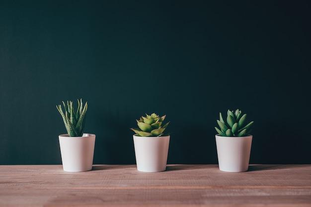Kunstplantpot op houten bureau