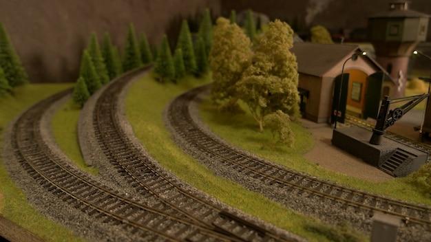 Kunststof miniatuur spoorwegen.