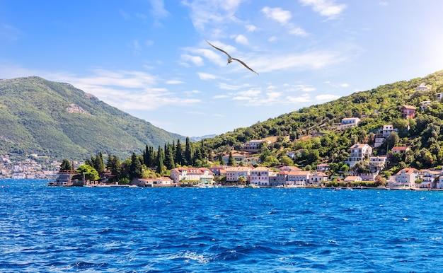 Kust van de adriatische zee in de baai van kotor, montenegro.