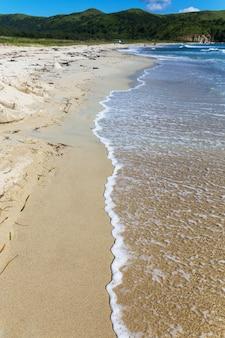 Kustlijn op zandstrand met zee golf en groene heuvel