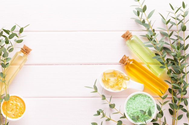 Kuuroord met ruimte voor een tekst. spa wellnes wenskaart. aromatherapie thema, handgemaakte cosmetica