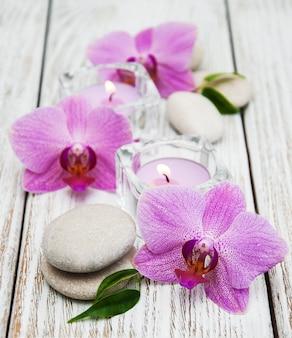 Kuuroordconcept met orchideeën