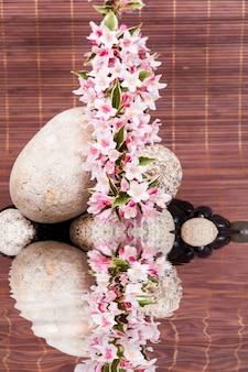 Kuuroordconcept met zenstenen op water, bloemen en bamboe