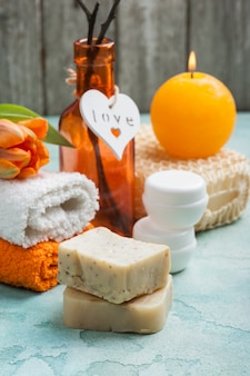 Kuuroordsamenstelling met met de hand gemaakte organische zeep