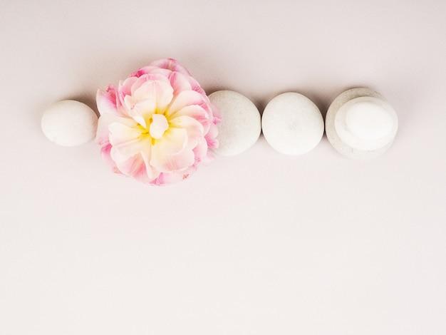 Kuuroordstilleven met zenstenen en bloem, harmonie en evenwicht, steenmannetjes, eenvoudige evenwichtsstenen op grijze achtergrond, rots zenbeeldhouwwerk.