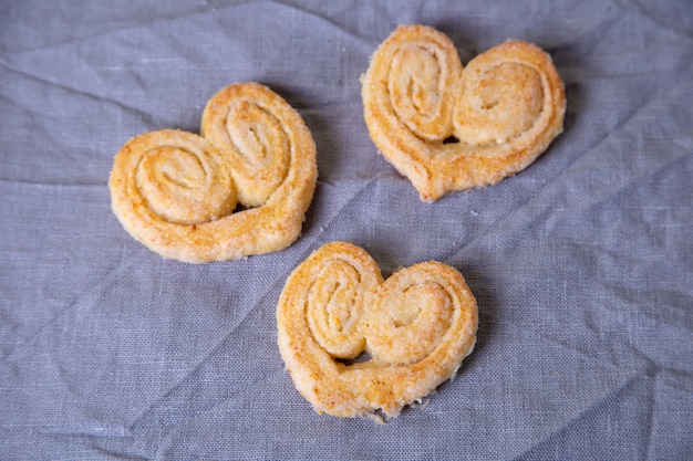 Kwark eigengemaakt koekje in suikerbovenste laagje. selectieve focus, close-up.