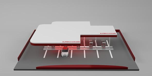 Laadstation elektrische auto batterij nieuwe energie technologie concept 3d illustratie