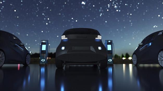 Laadstation voor elektrische auto's. elektrische auto's bij laadstation. 3d-rendering.