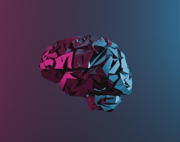 Laag poly-brein met neonlicht