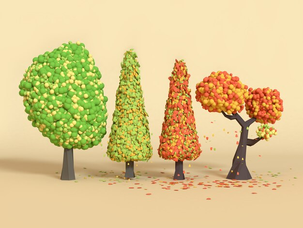 Laag poly cartoon boom vallen / herfst 3d-rendering aard