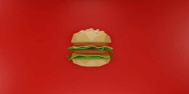 Laag poly hamburger op rode achtergrond.