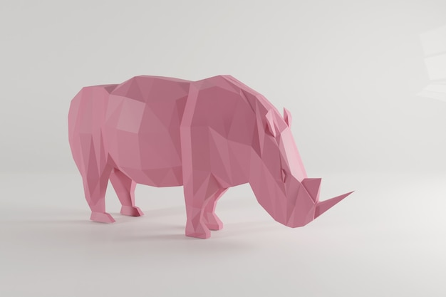 Laag poly roze neushoorn isoleted op witte achtergrond