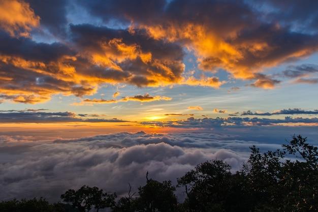 Laag van bergen en mist in zonsondergangtijd, landschap in doi luang chiang dao