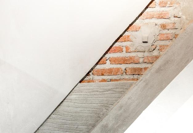 Laag van de bouw van de muur, bakstenen muur, cement, geautoclaveerd cellenbeton en kleur