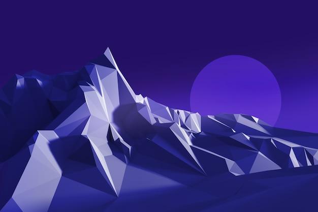 Laag veelhoekbeeld van een berg tegen de hemel. 3d-afbeelding