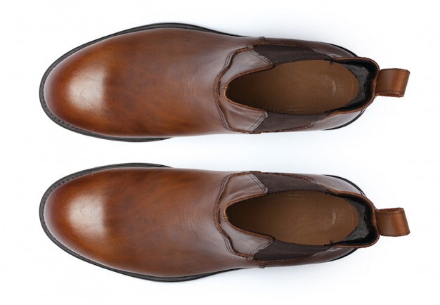 Laarzen op wit worden geïsoleerd dat. bovenaanzicht