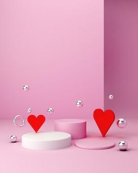 Laat een product zien. lege scène met cilinderspiegel, bollen en podium. pastelkleur roze minimale muur en harten. modeshow, vitrine, winkelgevel.